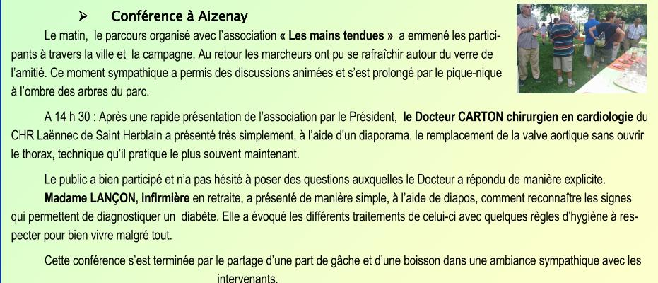 Conférence à Aizenay