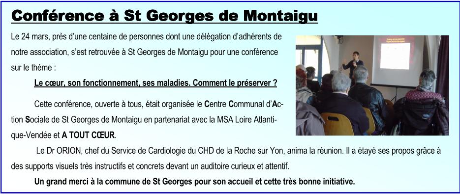Conférence à St Georges de Montaigu