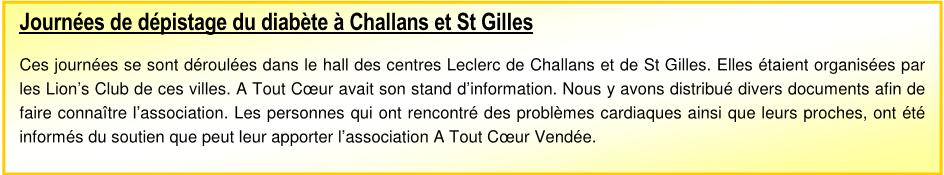 Journée de dépistage du diabète à Challans et à St Gilles