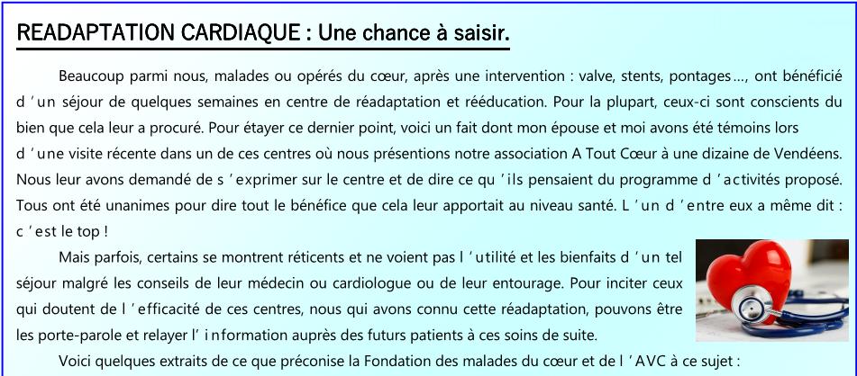Readaptation cardiaque 1 sur 2