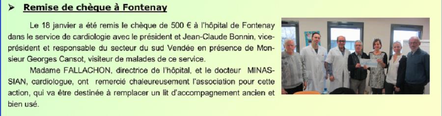 Remise de chèque à Fontenay